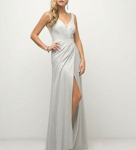 Silver evening prom bridesmaid party formal dress
